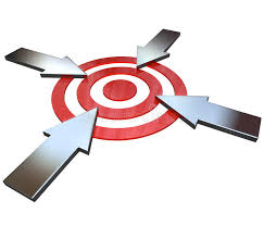 Target Ceiling Fan by Four Competing Arrows Point At Bulls Eye Target Royalty Free Stock