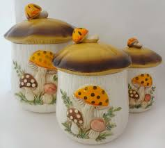 ceramic kitchen canisters cute unique mushroom shape canister
