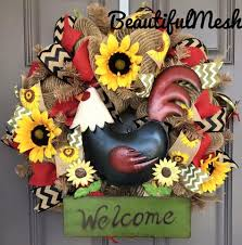 sunflower mesh wreath rooster sunflower welcome burlap deco mesh wreath beautifulmesh
