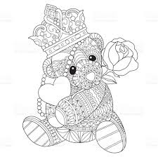 hand drawn teddy bear in love for coloring page stock vector