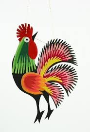 center wycinanki rooster ornament 4 10cm