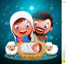 holy night when jesus born in manger with joseph and mary vector