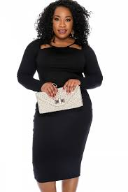 black long sleeves knee length bodycon plus size party dress
