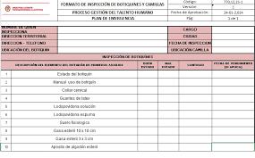 formato hoja de vida 2016 colombia formato inspección de botiquines y camillas v1 unidad para las