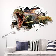wall stickers murals dinosaur breaking out of the wall to escape 3d wall decal stickers