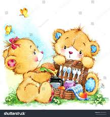 teddy bear picnic two background greetings stock illustration