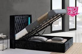 Ottoman Bed Black Crushed Velvet Led Ottoman Bed Frame 2 Colours 2 Sizes