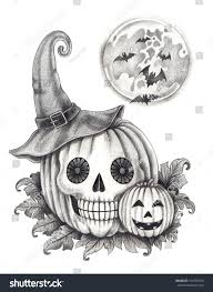 halloween skull pumpkin hand drawing on paper stock photo