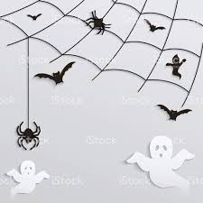 halloween background black spider web halloween background spider web with flying ghosts and bats stock