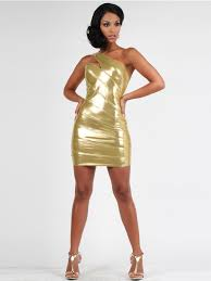 asymmetrical neck short sheath stretch gold silky stretch satin