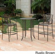 wrought iron bistro set with bar table and two barstools patio table