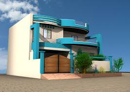 architecture 3d simple house building plan with single garage and