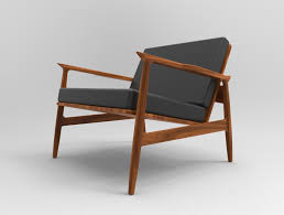 Danish Modern Armchair Mid Century Modern Chair Step Iges Solid Edge 3d Cad Model