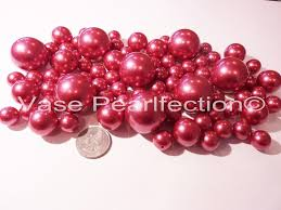 Vase With Pearls 80 Unique Jumbo U0026 Assorted Sizes All Raspberry Pearls Sangria Red