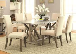 nailhead trim dining room set table chairs lorraine trestle beige