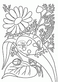 ladybug and flowers spring coloring page for kids seasons
