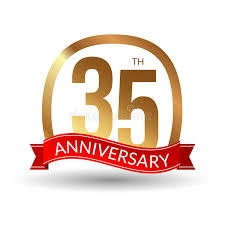 35 year anniversary 35 years anniversary experience gold label with ribbon vector