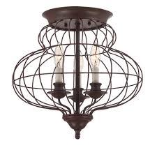 Quoizel Flush Mount Ceiling Light Quoizel Laila Rustic Antique Bronze 14 5 Inch Three Light Flush