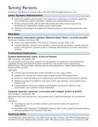 sample resume for an entry level systems administrator monster com