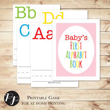 alphabet book baby shower game with pink cover build a