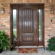 exterior wooden door painted with dark brown color and narrow