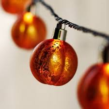 mercury glass string lights orange mercury glass pumpkin string from pottery barn
