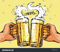 Vector Image Two Hands Holding Beer Stock Vector 663353410