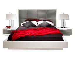 modern white bedroom mena with mirrored headboard contemporary