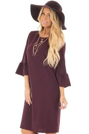 plum 3 4 sleeve dress with bell flare sleeve detail lime lush