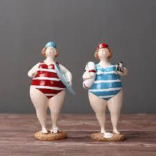 magasin article de bureau style méditerranéen résine maillot de bain grosse femme figurine