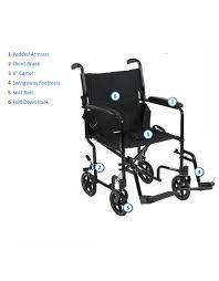 Drive Wheel Chair Medical Deluxe Lightweight Transport Wheelchair Aluminum 19