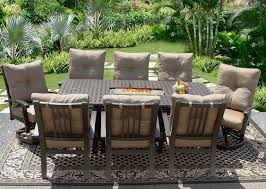 Fire Patio Table by Barbados Cushion 42x84 Rectangle Outdoor Patio 9pc Dining Set For