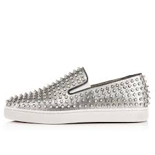 s flat boots sale uk christian louboutin roller boat flat leather silver louboutin