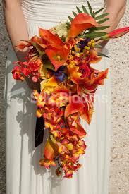 tropical cuties dely set shop amazing tropical orange cascading bridal bouquet lilies roses