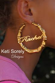 Custom Name Earrings Celebrity Style Large Bamboo Name Earrings Door Knocker Hoop