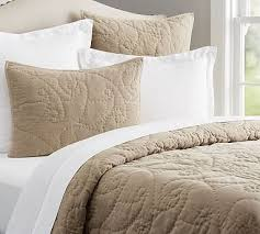Pottery Barn Toile Bedding Rustic Stonewashed Organic Quilt King Cal King Dark Flax