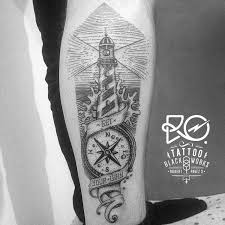 tattoo line and dot work compass lighthouse chile 2014 by