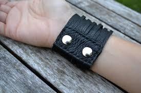 leather hand bracelet images Black leather hand stitched multi strand bracelet with silver jpeg