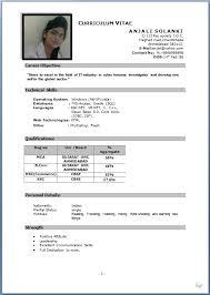 sample curriculum vitae job application sample of curriculum