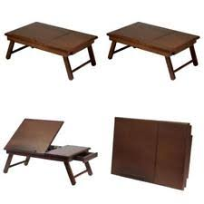 Table Top Drafting Board Portable Folding Laptop Table Lap Desk Legs Bed Wooden Drawing