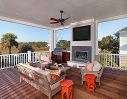 Charleston Patio Furniture by Beautiful Outdoor Fireplace Grill With Ceiling Fan Wooden Patio