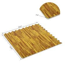 homcom soft wood grain foam interlocking floor mats 72 square feet