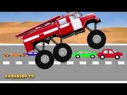 monster truck videos for monster fire truck mega crushing сartoons toy for kids monster