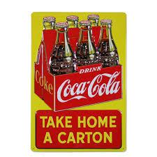 Coca Cola Home Decor Coca Cola Take Home A Carton Embossed Metal Sign Kitchen Decor