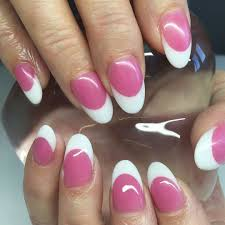 pink u0026 white permanent french manicure acrylic nails double team