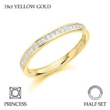 gold eternity ring 18ct yellow gold half set princess cut diamond eternity