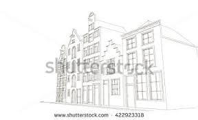 outline sketches dutch houses 3d rendering stock illustration
