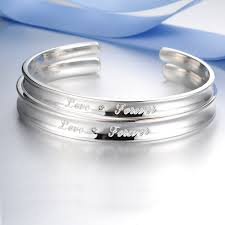 his and hers engraved bracelets blue sweet bracelets forever engraved cuff bracelets