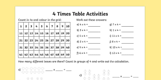 3 and 4 times table 4 times table activity sheet times table times tables times
