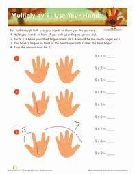 9 times table hand trick worksheet education com